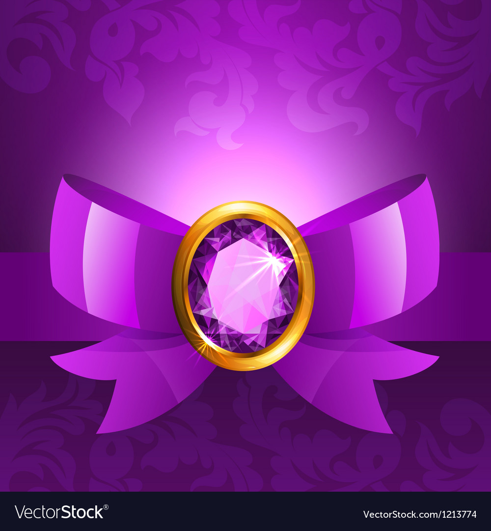 Purple ribbon and bow vector