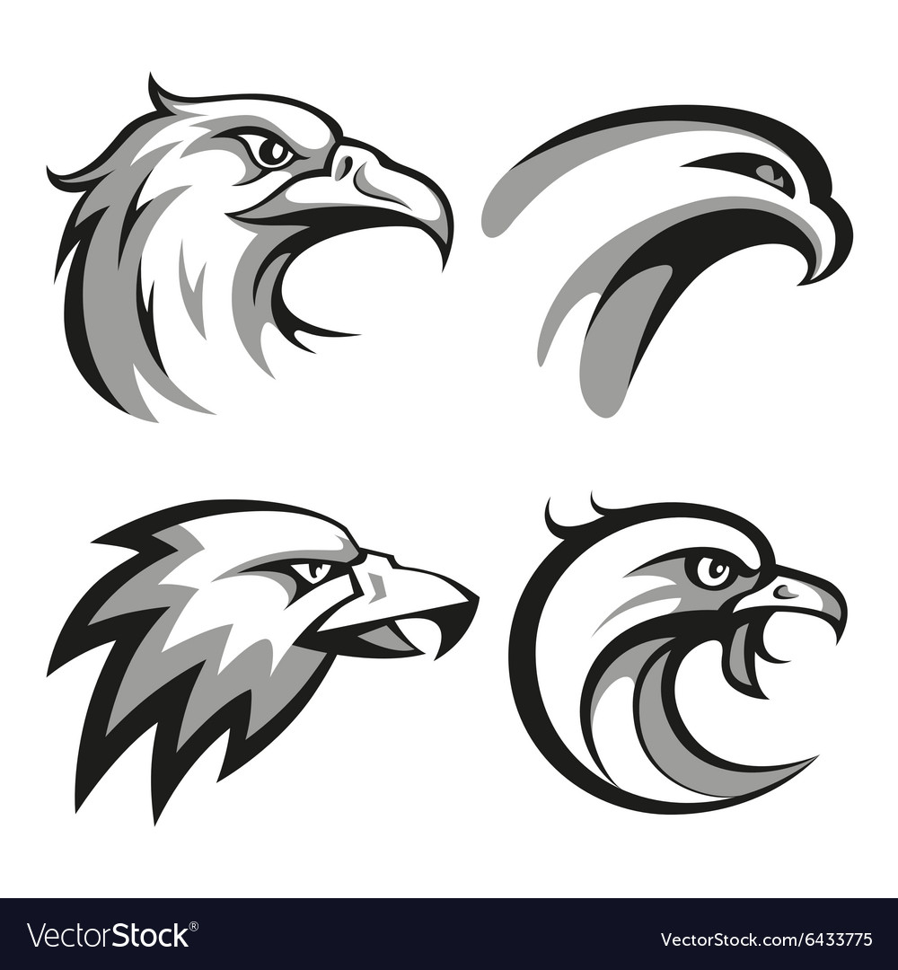 Black and grey eagle head logos set for business vector