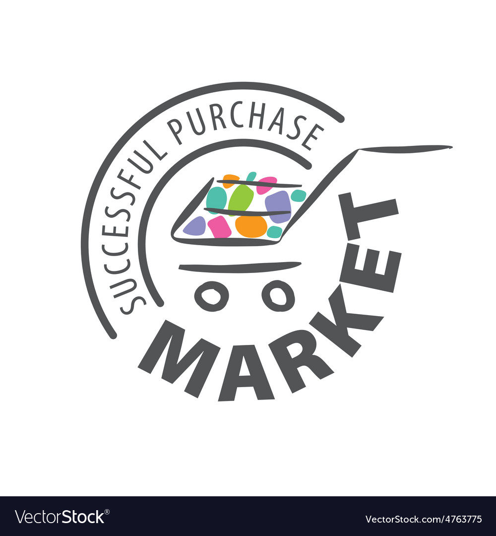 Round logo shopping trolley of goods vector