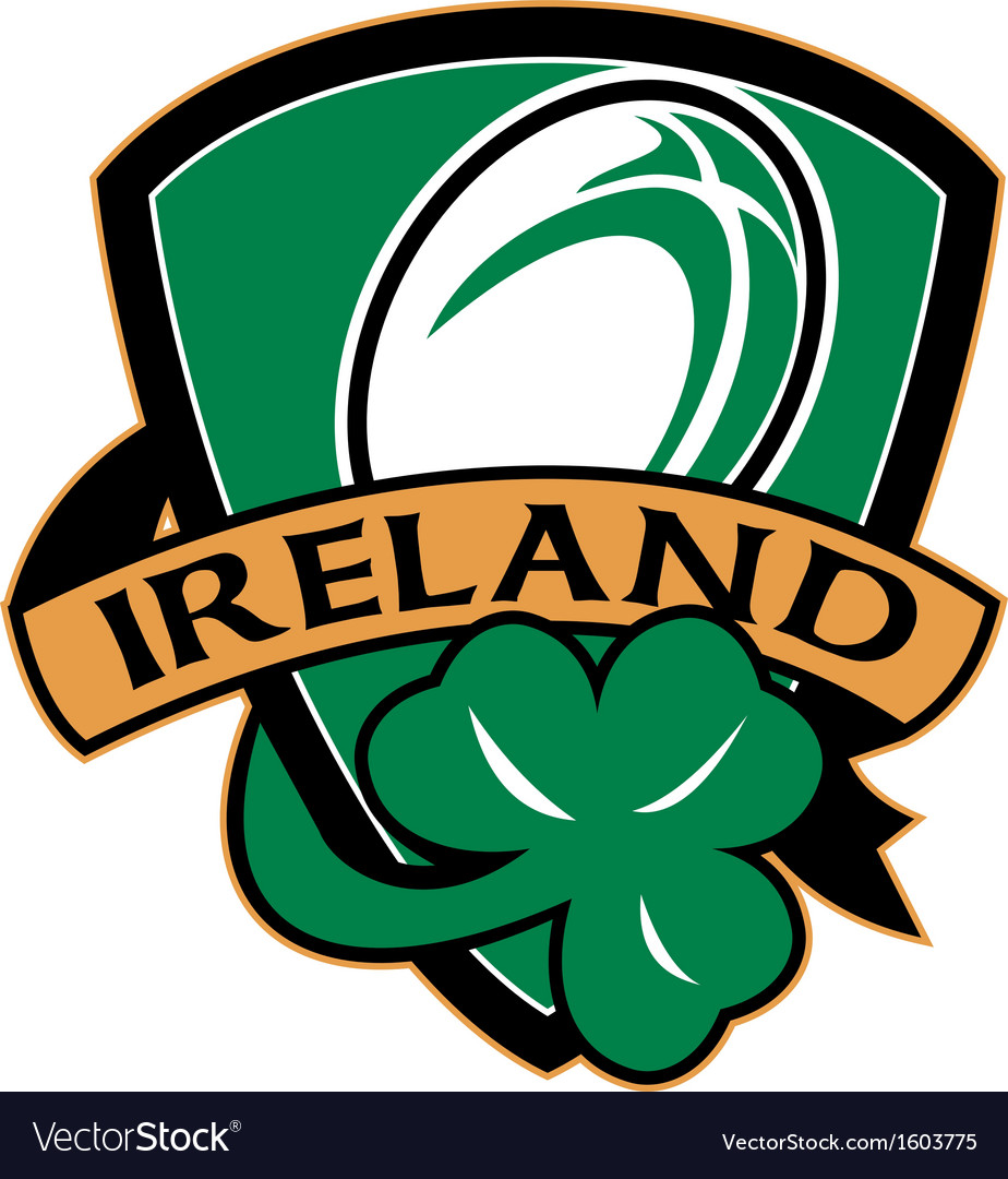 Rugby ball ireland shield shamrock vector