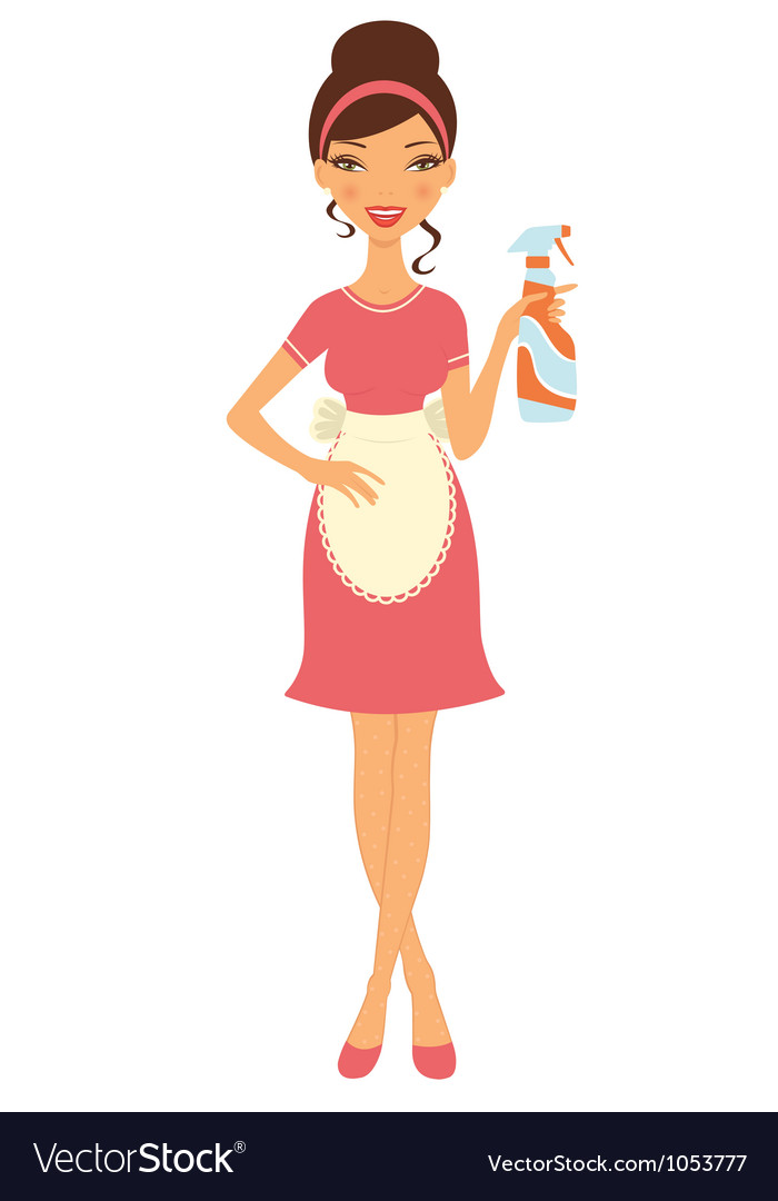 Cleaning woman vector