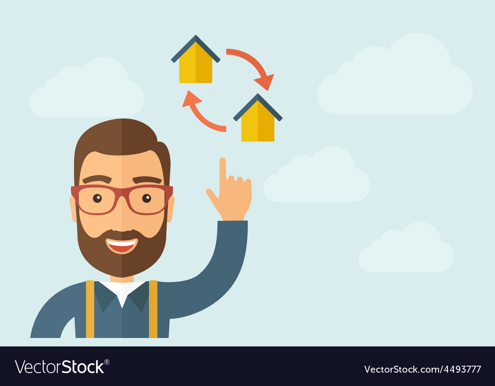 Man pointing the two houses icon vector