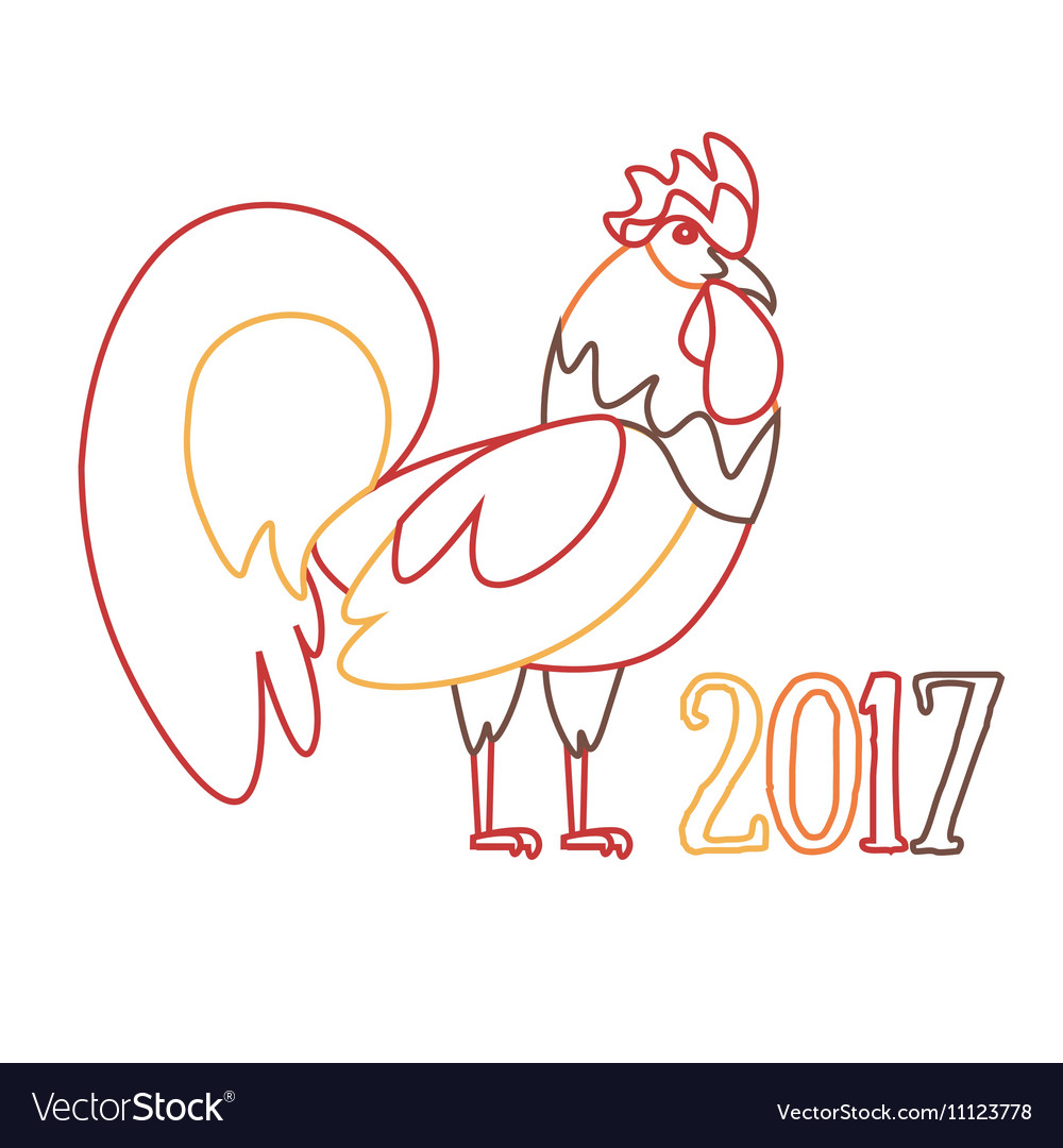 Cock symbol of new year outline vector