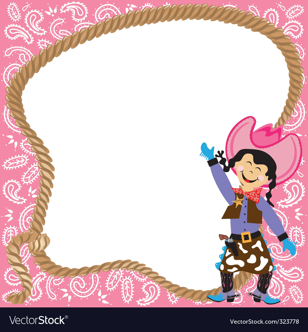 Cowgirl birthday party vector