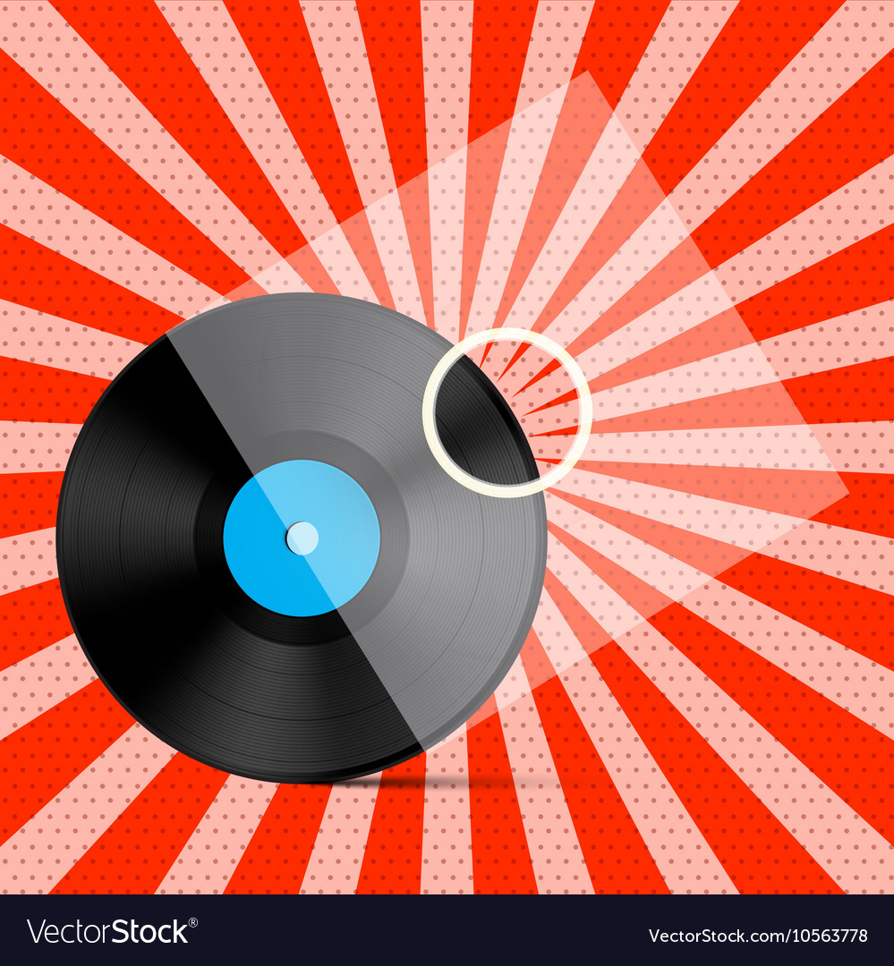 Vintage retro red background with vinyl lp record vector