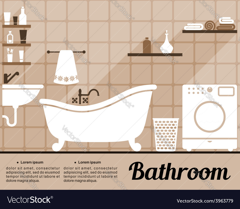 Bathroom interior flat design vector