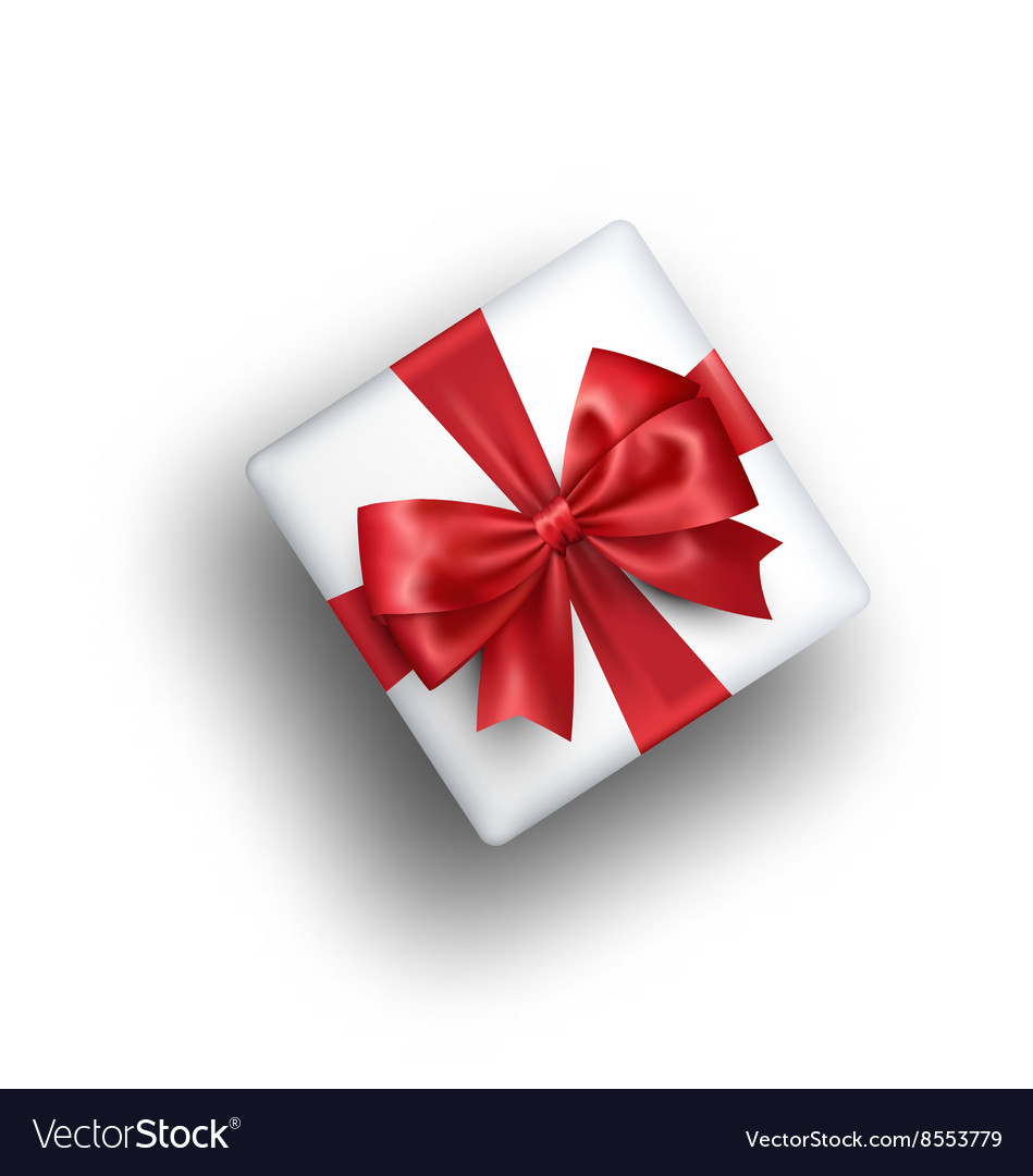 White celebration gift box with red bow isolated vector