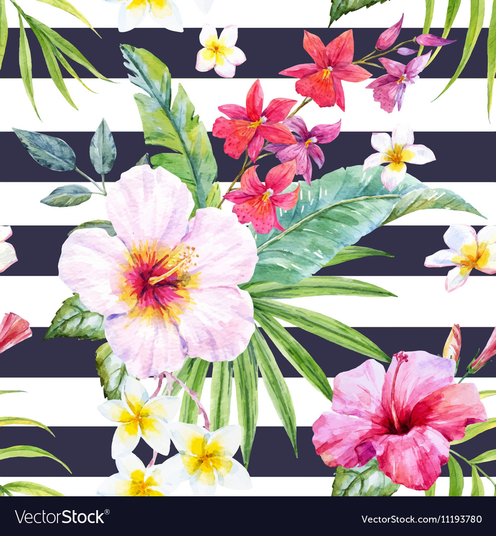 Watercolor tropical floral pattern vector
