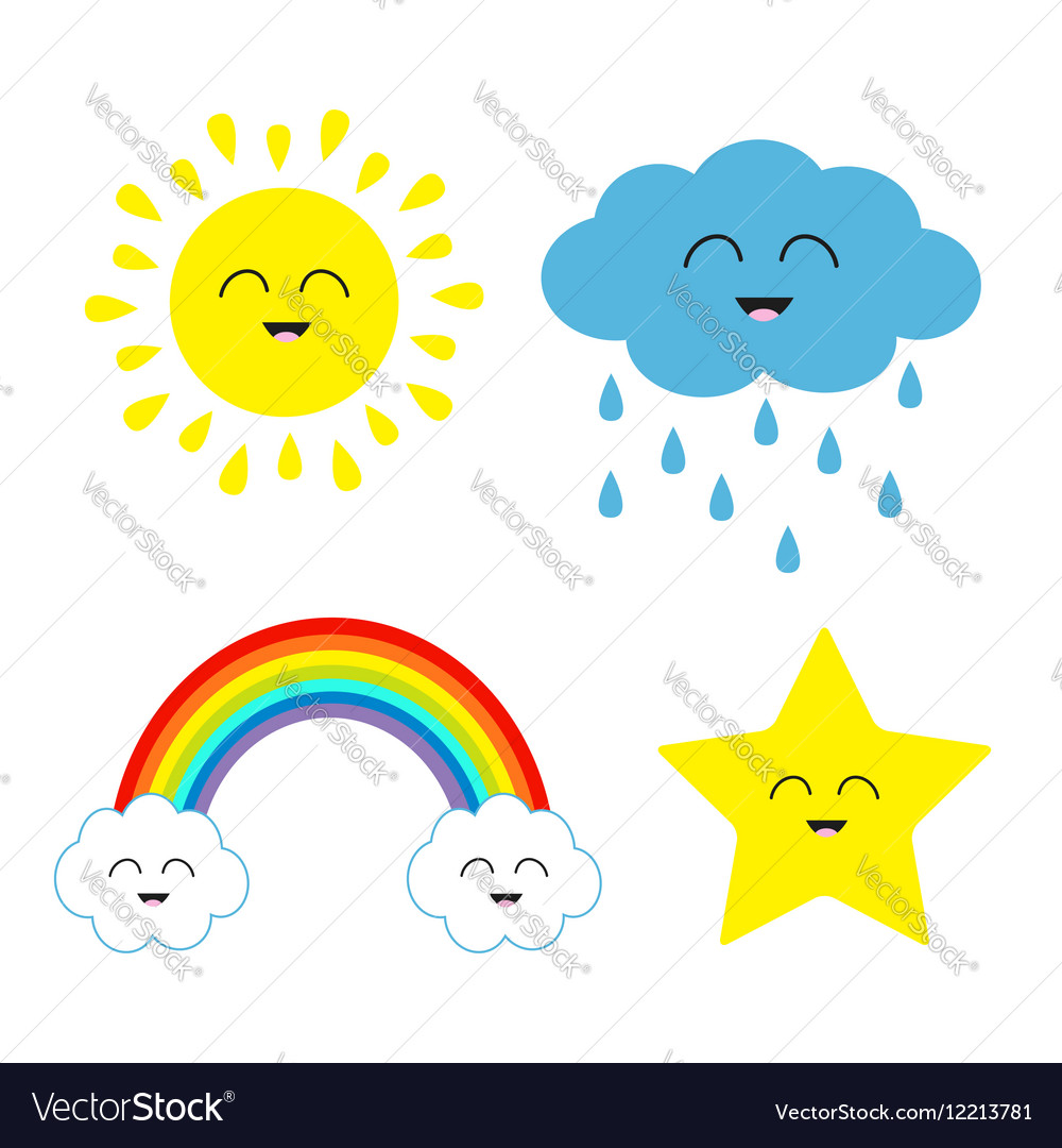Cute cartoon kawaii sun cloud with rain star vector