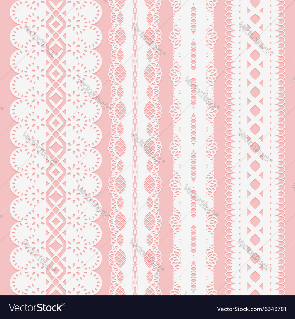 Set of seamless white lace ribbons on a pink vector