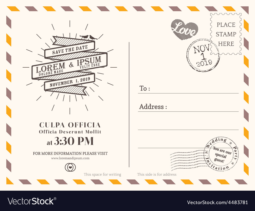 Vintage wedding postcard background template vector