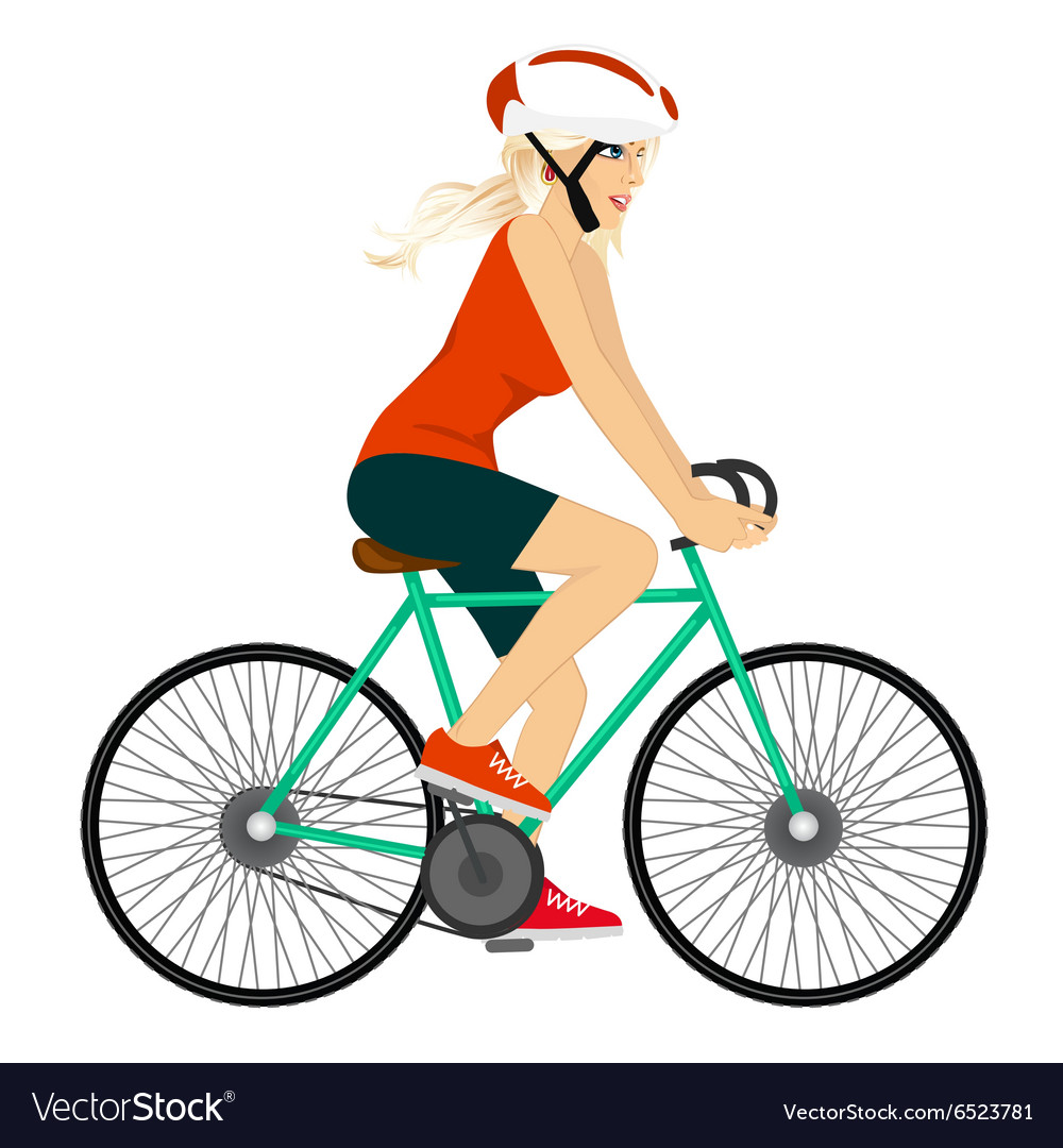 Young professional cyclist woman vector