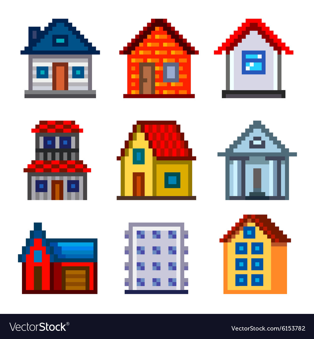 Pixel houses for games icons set vector