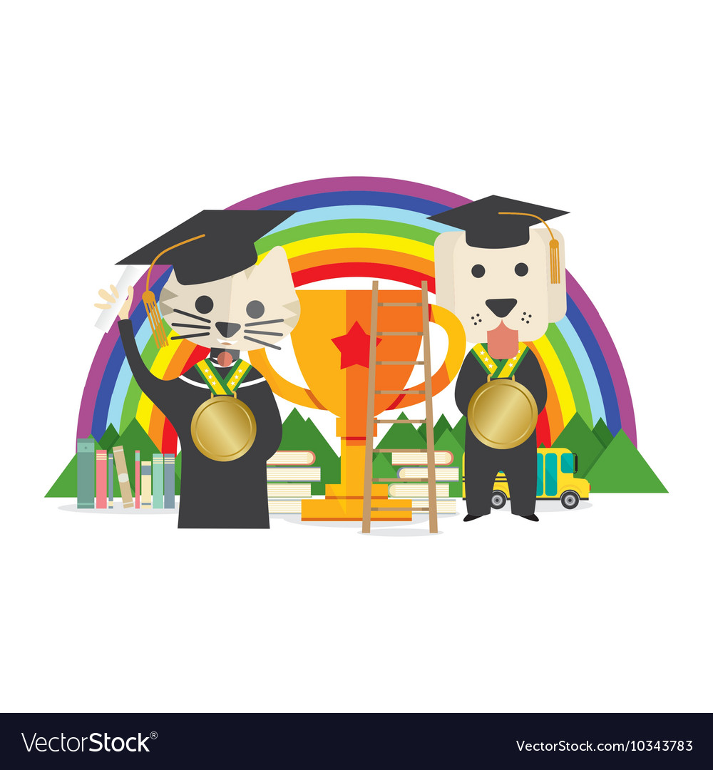 Cat and dog wearing graduate suite pet training vector