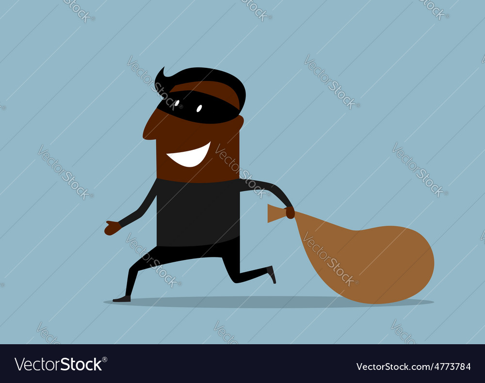 Black thief running with sack of loot vector