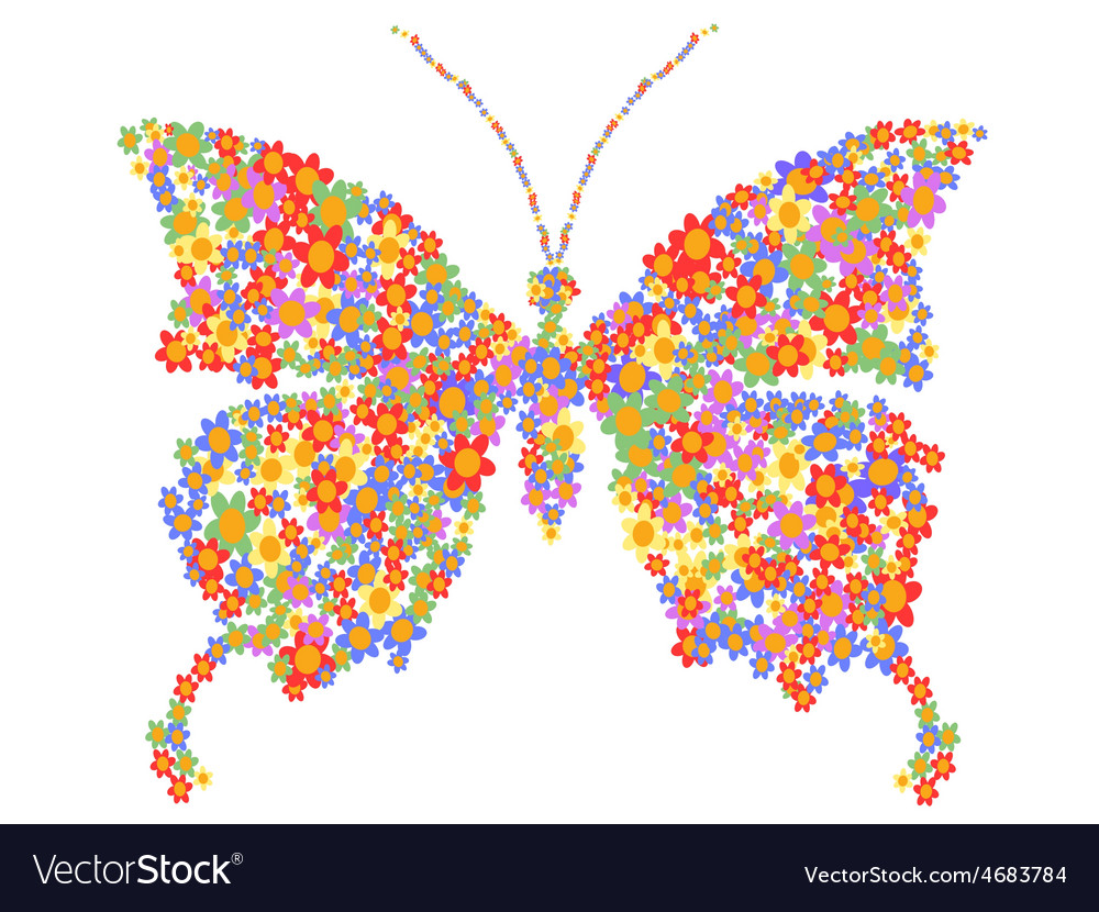 Butterfly shape with flowers vector