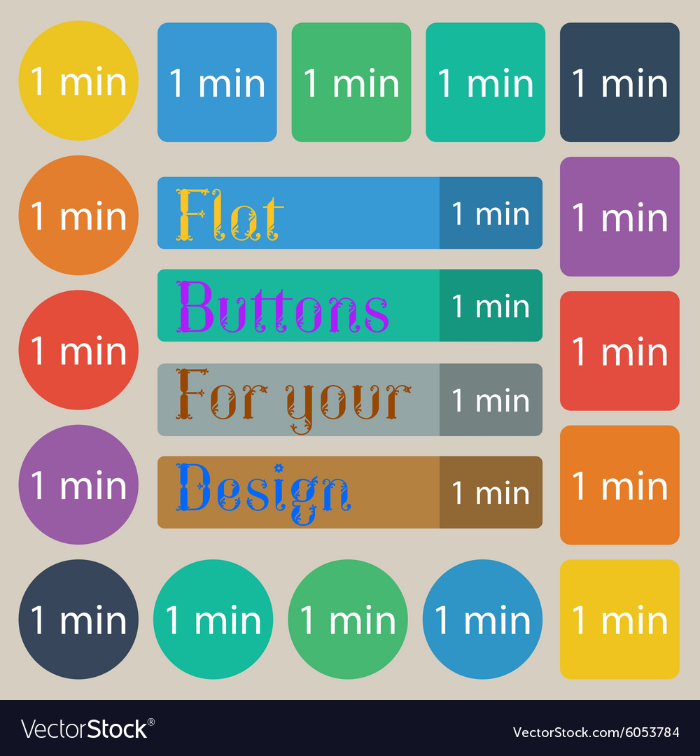 One minutes sign icon set of twenty colored flat vector