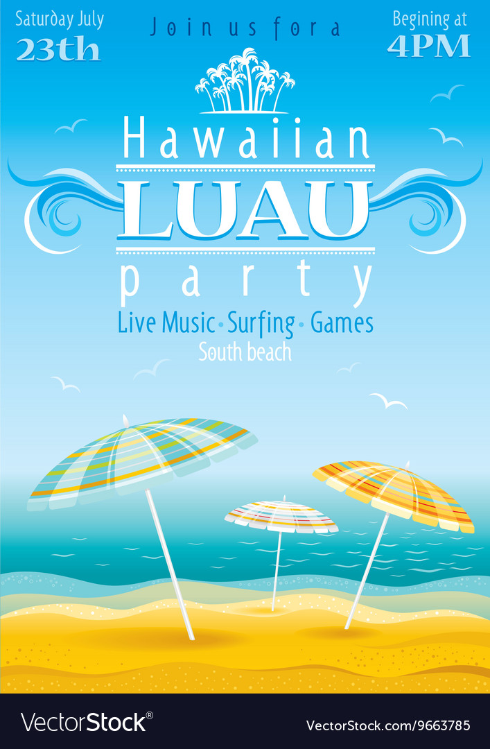Beach party luau background with stripped vector