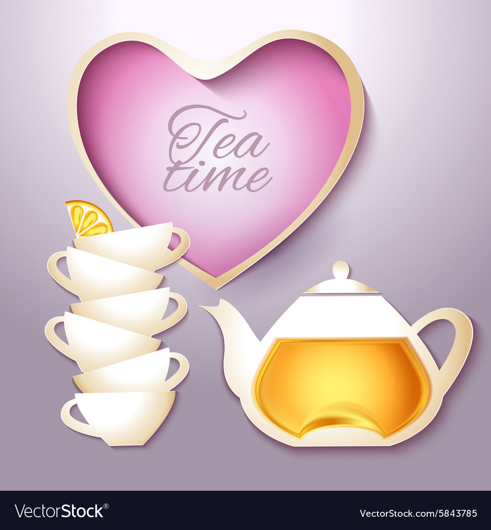 Cof tea and teapot vector