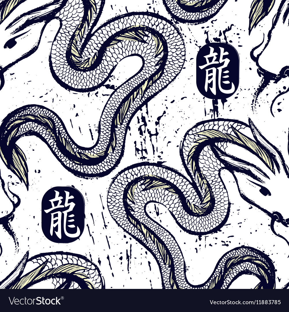 Ink hand drawn dragon snake seamless pattern vector