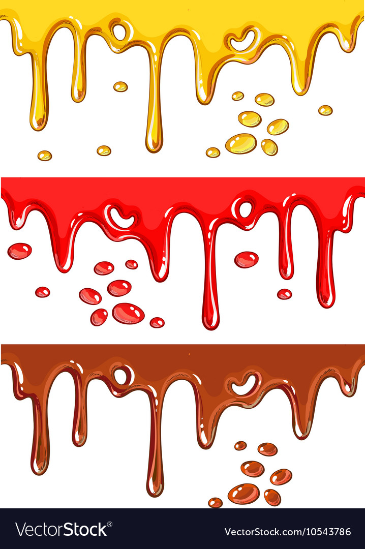 Set of chocolate honey and strawberry drips vector