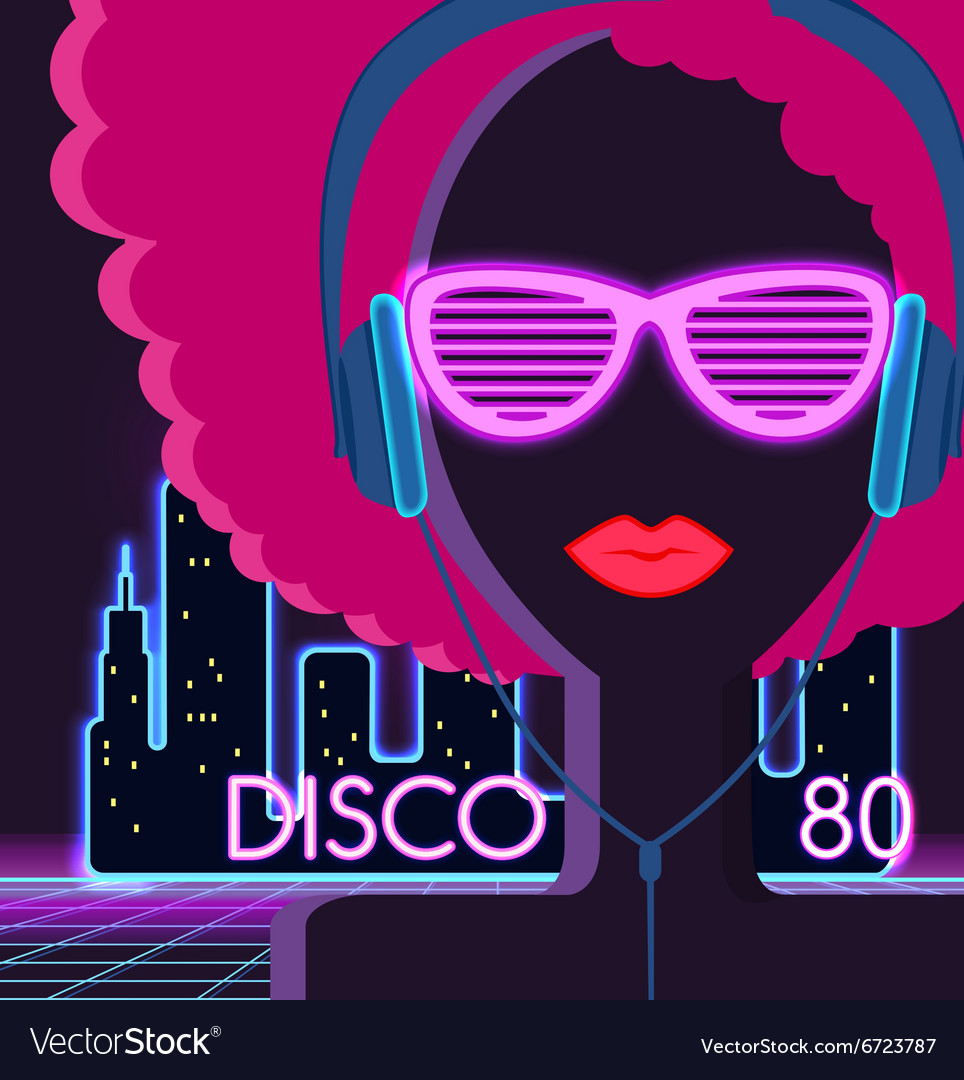 Disco 80s girl with headphones vector