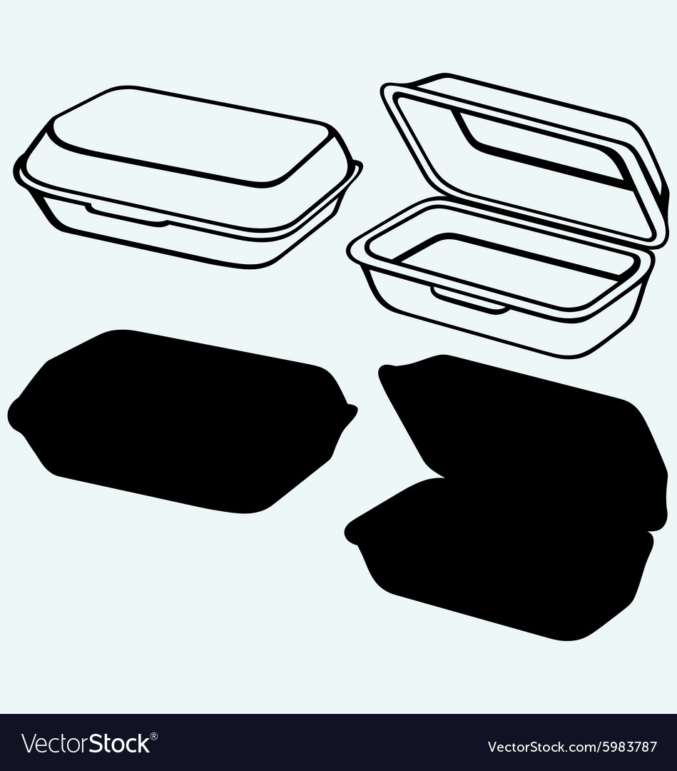 Foam meal box vector
