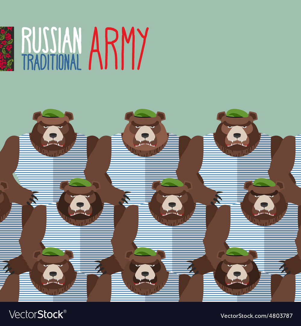 Russian national army of bears in green berets vector