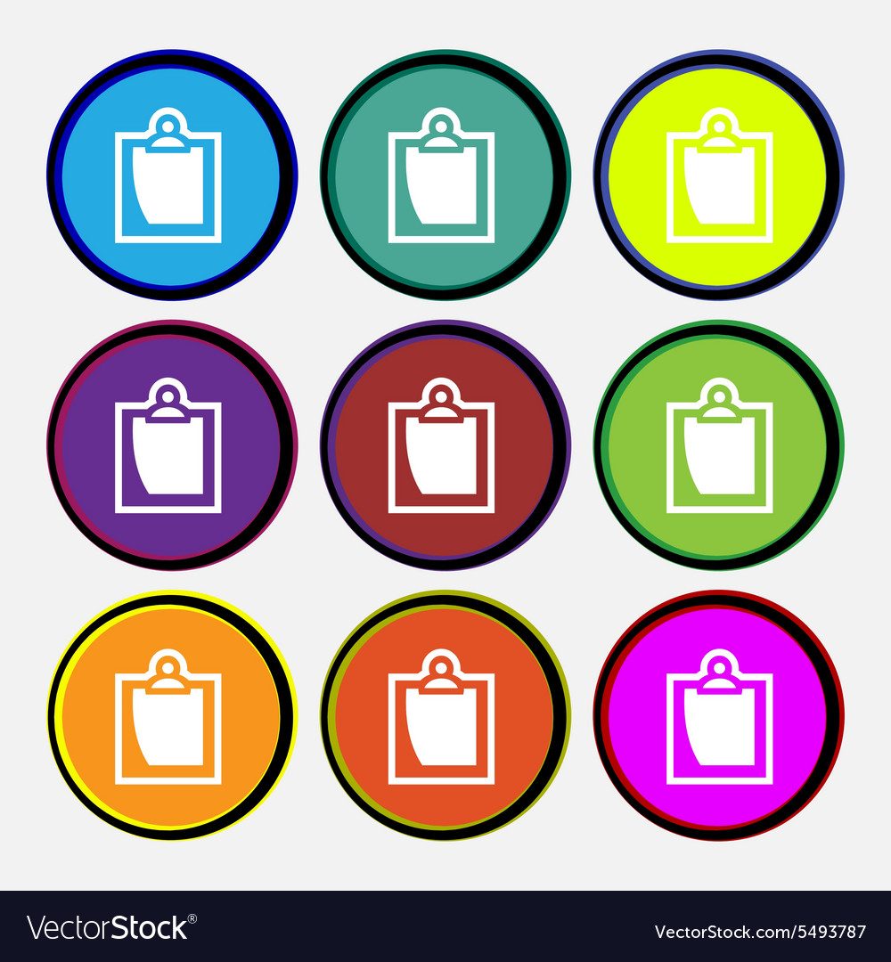Sheet of paper icon sign nine multi colored round vector