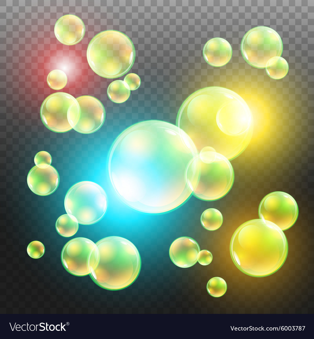 Transparent multicolored soap bubbles set on plaid vector