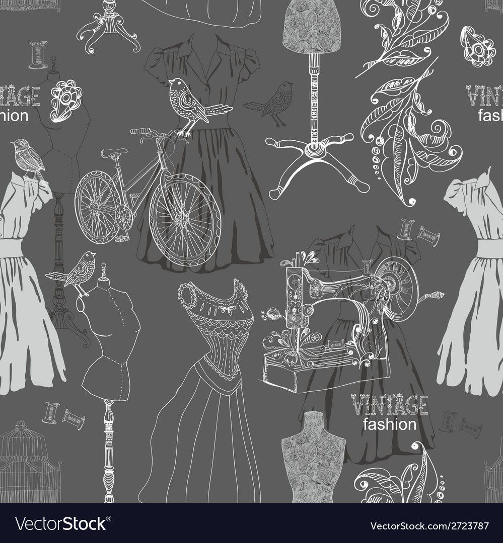 Vintage seamless pattern  fashion and sewing vector