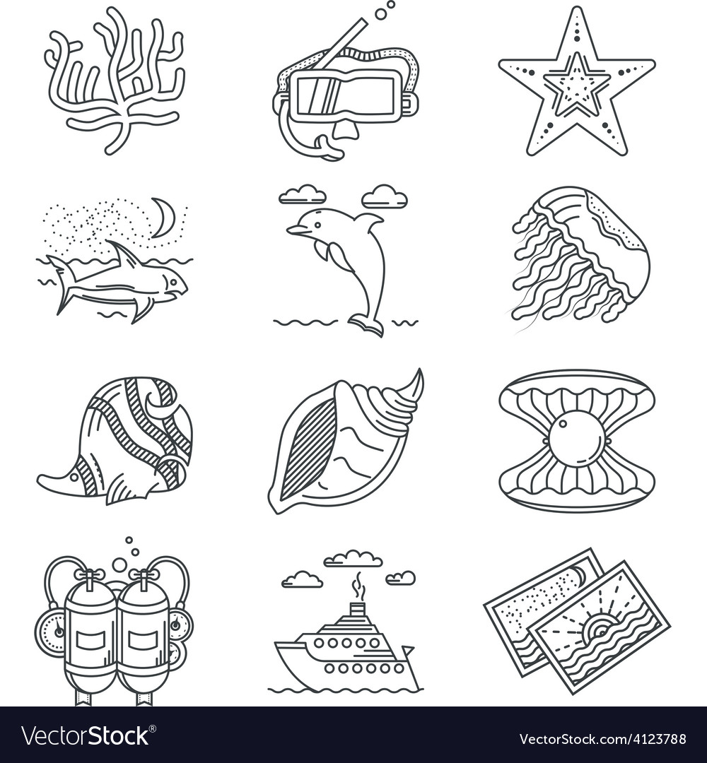 Black line icons for tropical rest vector