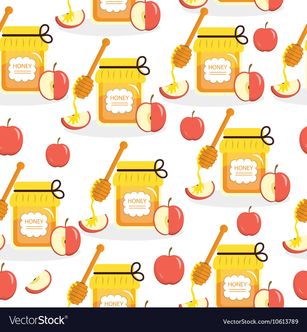 Honey and apples seamless texture vector
