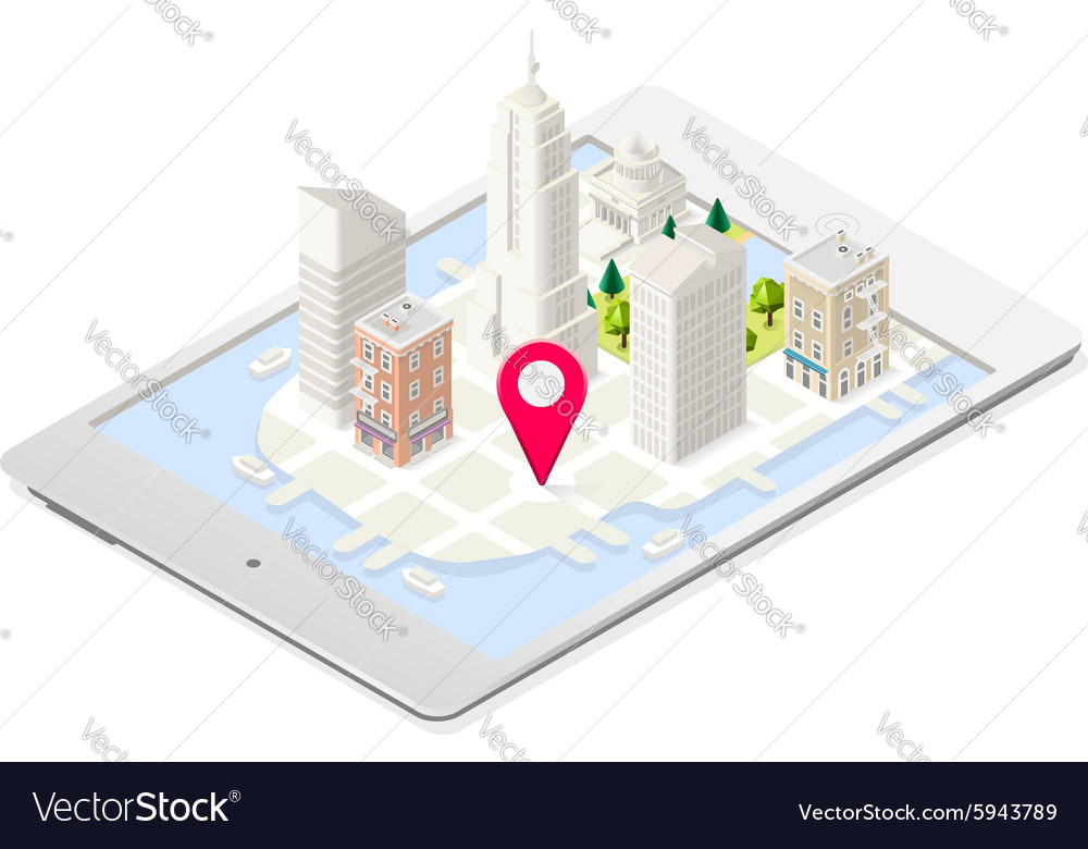Nyc map 03 building isometric vector