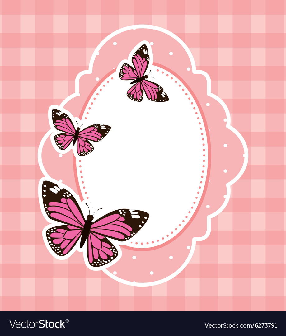 Beautiful butterfly frame vector