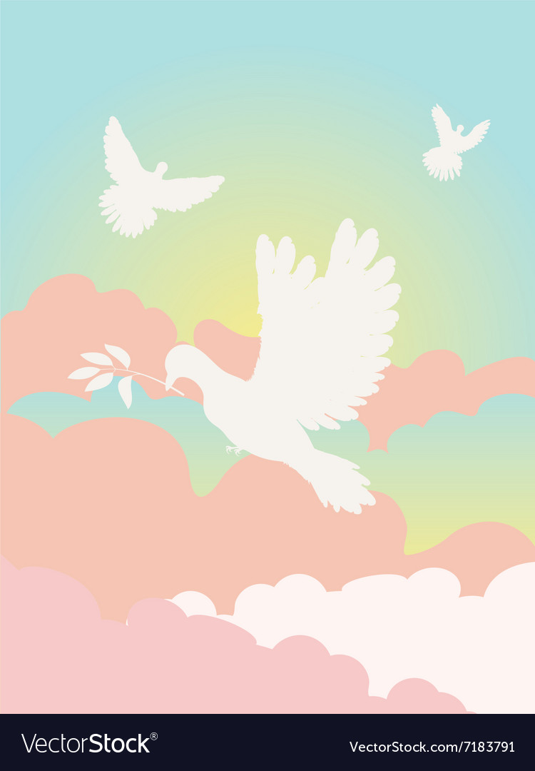 Pigeon in the clouds2 vector