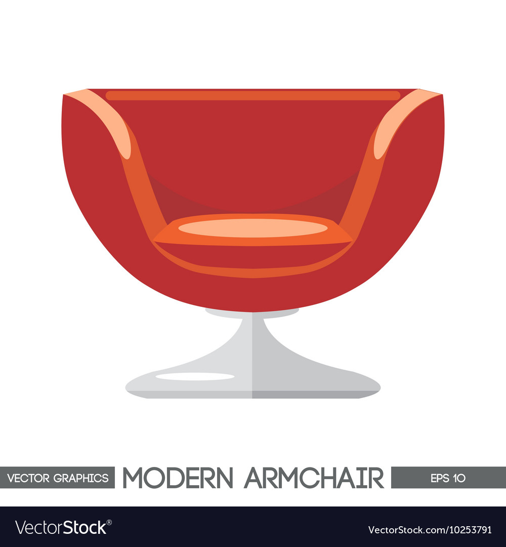 Red modern armchair over white background digital vector