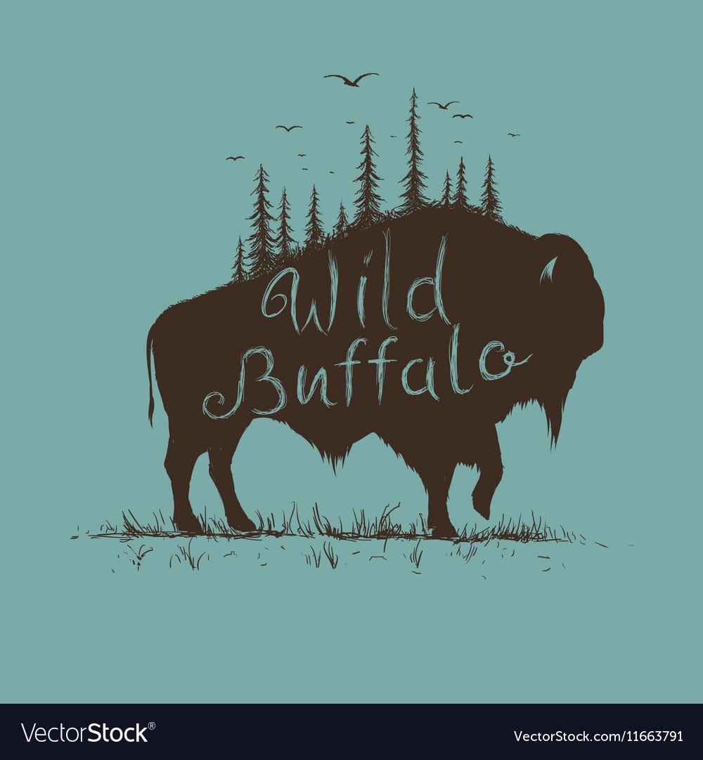 Wild buffalo with forest on him vector