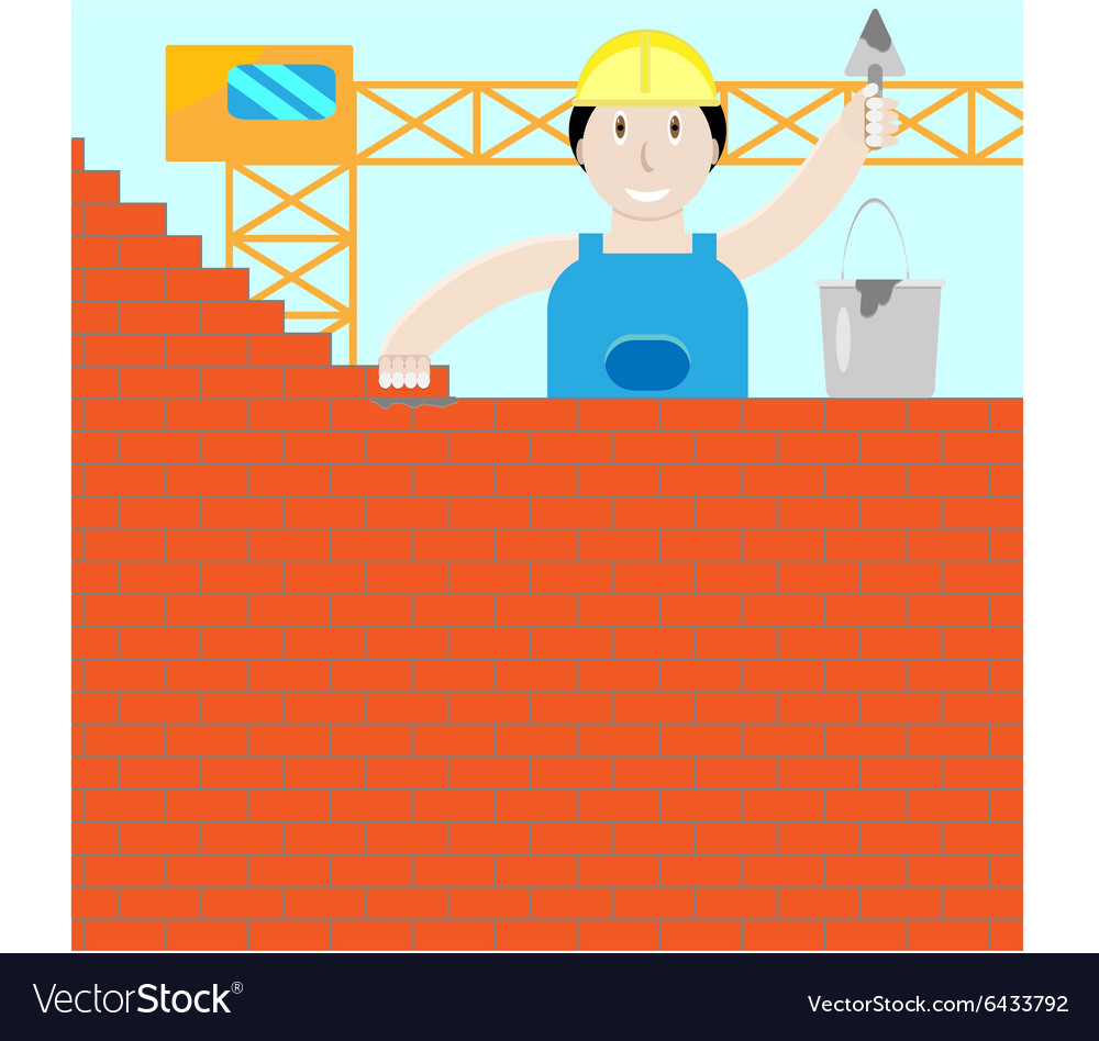 Builder builds a brick wall vector