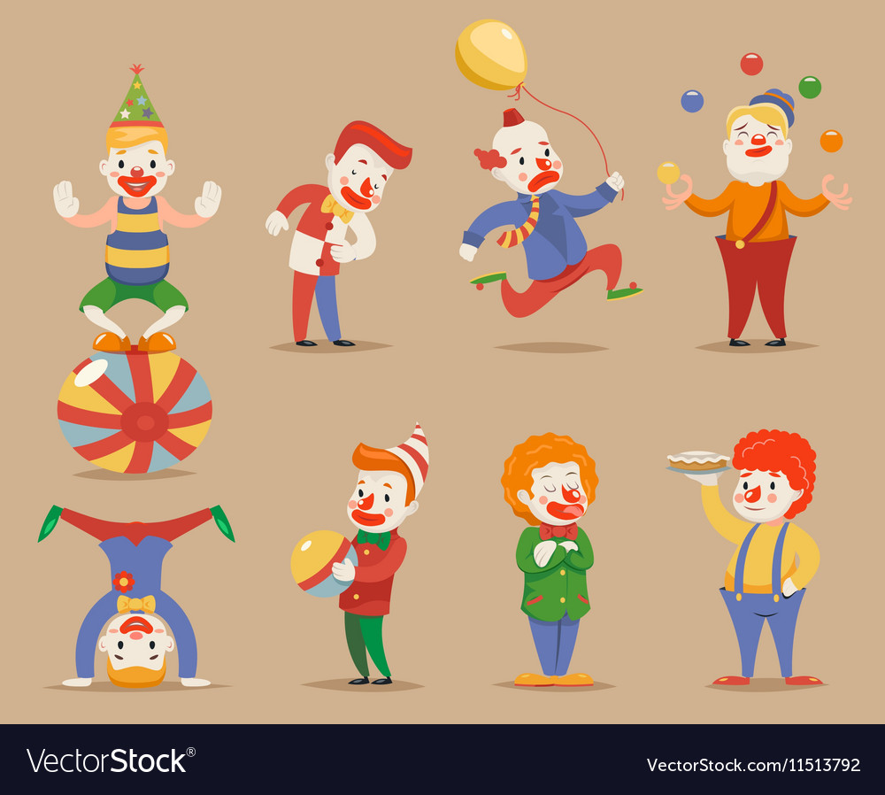 Cute funny clowns different positions and actions vector