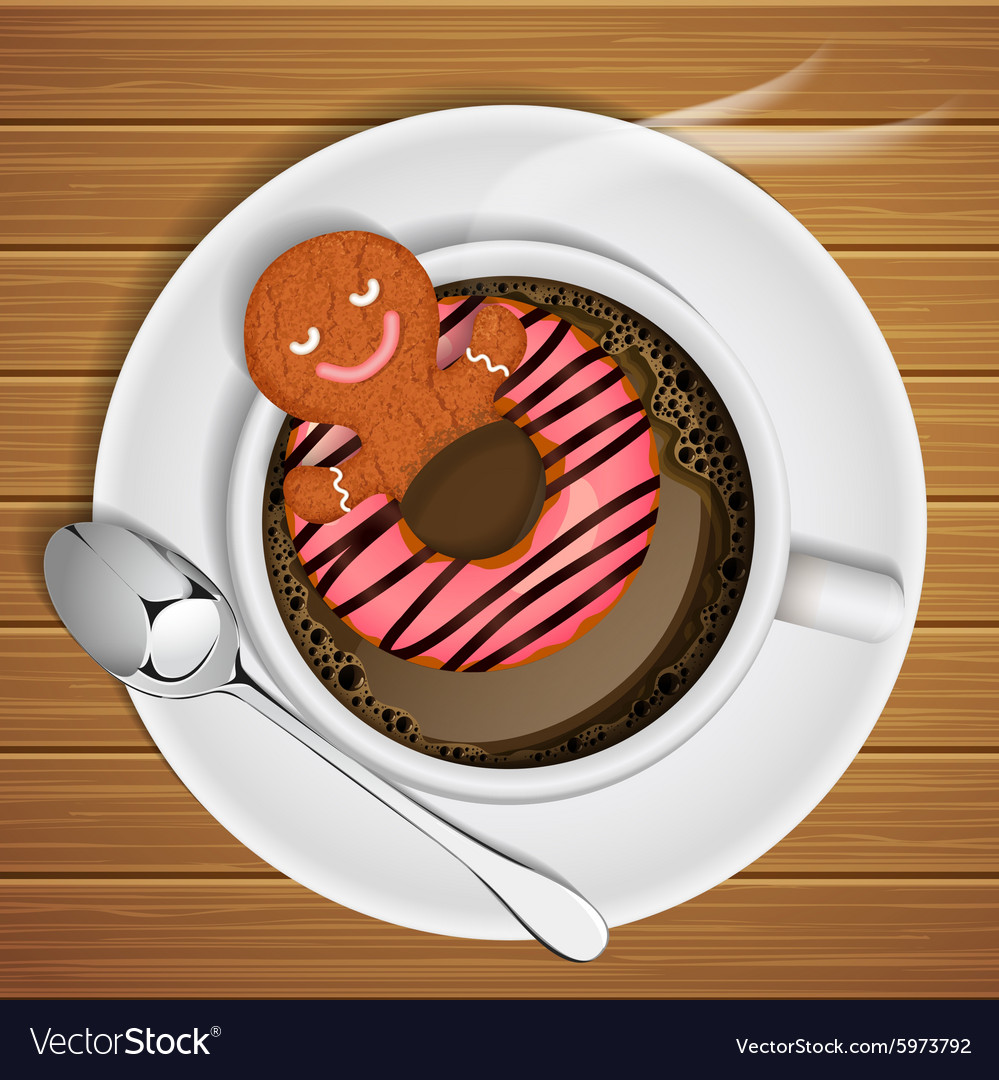 Gingerbread with doughnut in cup of hot chocolate vector