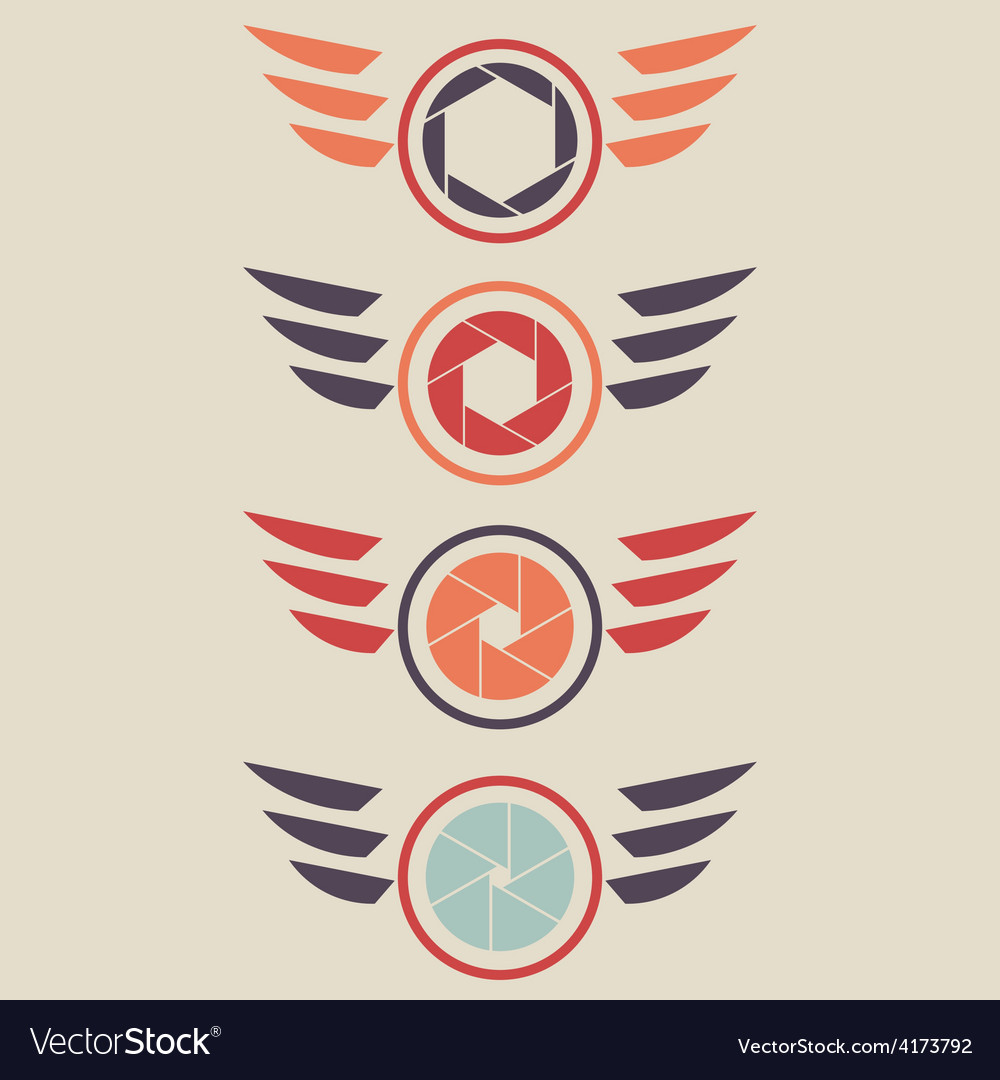 Shutter logo set wings vector