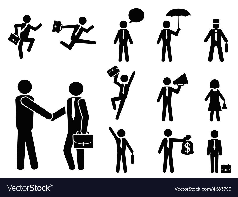 Businessman pictogram icons set vector