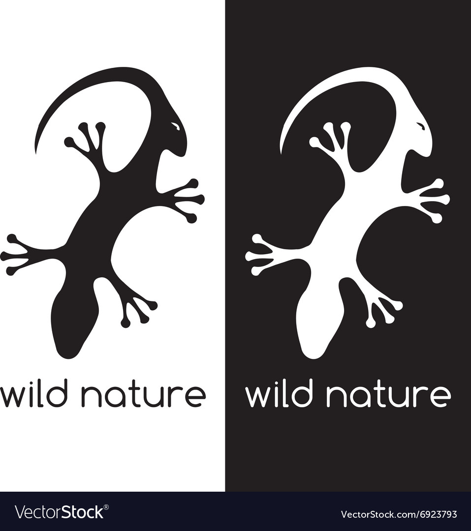Lizard and head of antelope negative space concept vector