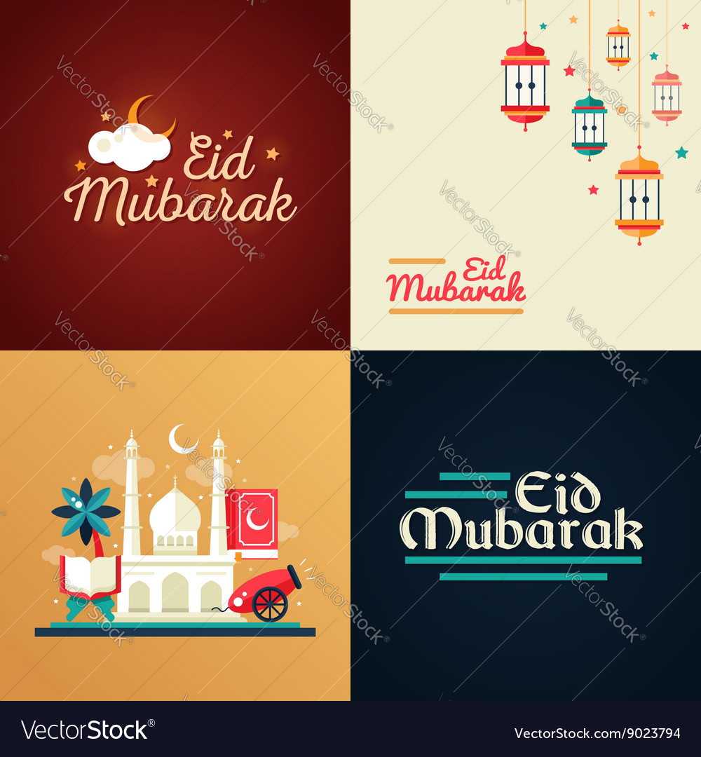 Postcard templates set with islamic culture icons vector