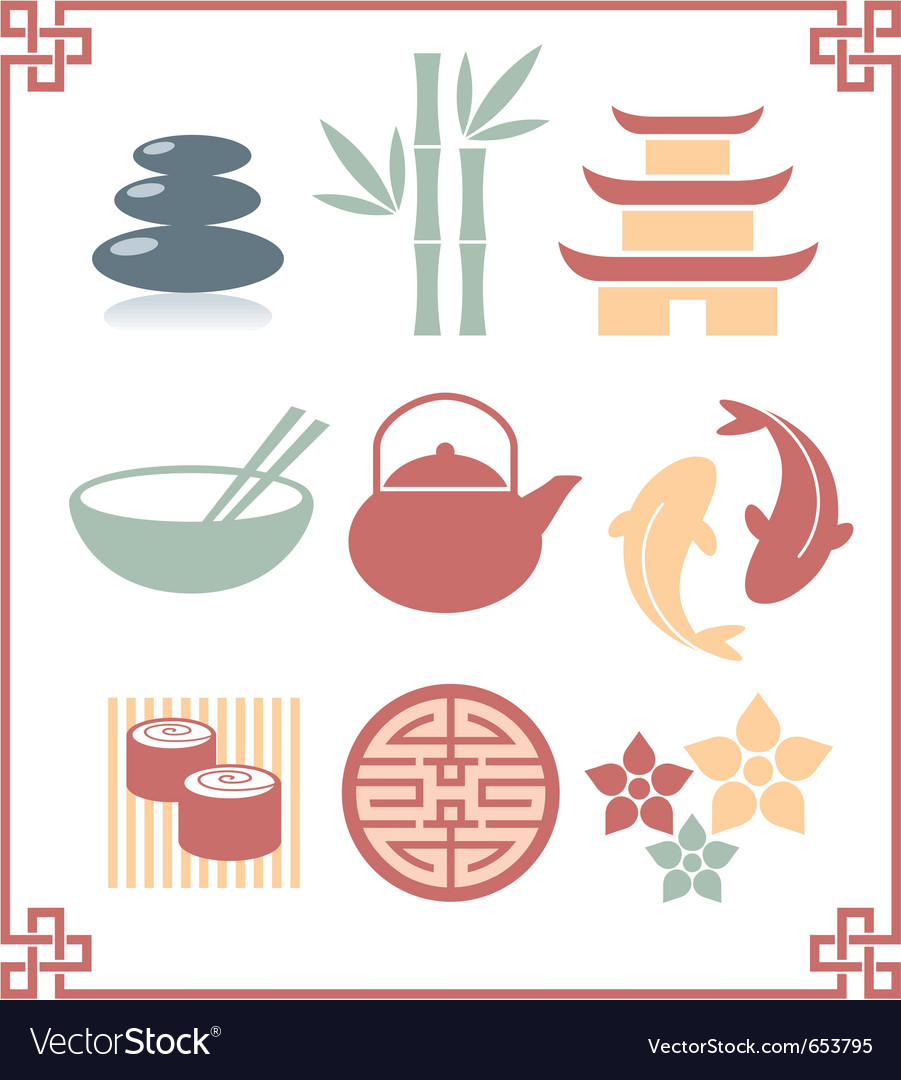 Oriental zen design elements vector