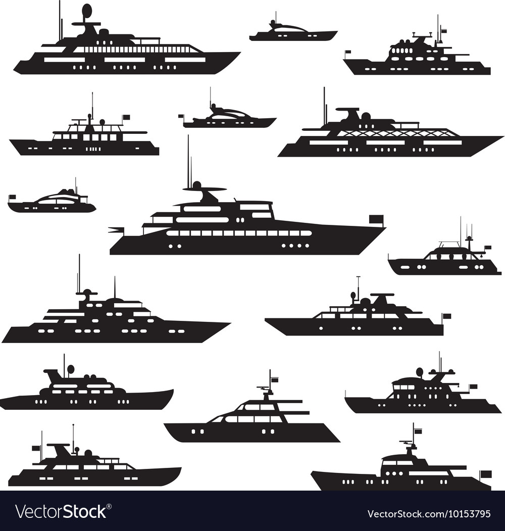 Set icons of motor yachts vector