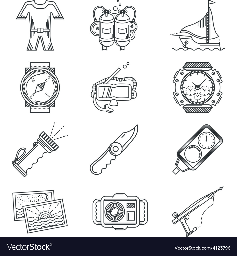 Black line icon for snorkeling vector