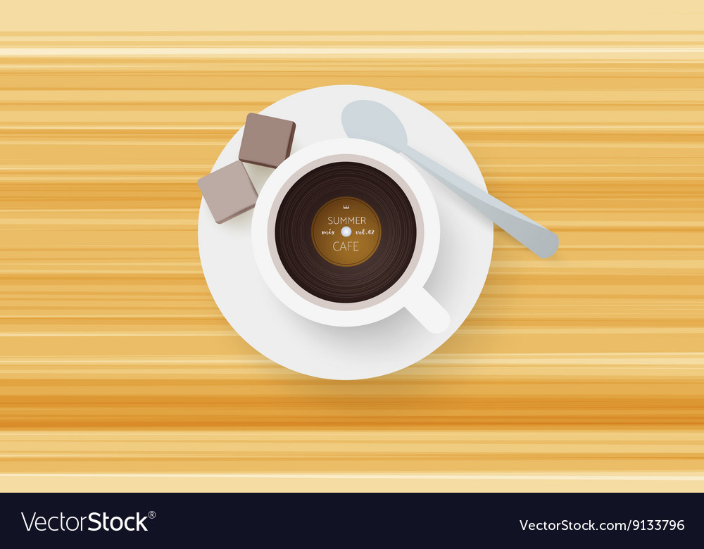 Dj cafe abstract cup of coffee with vinyl record vector