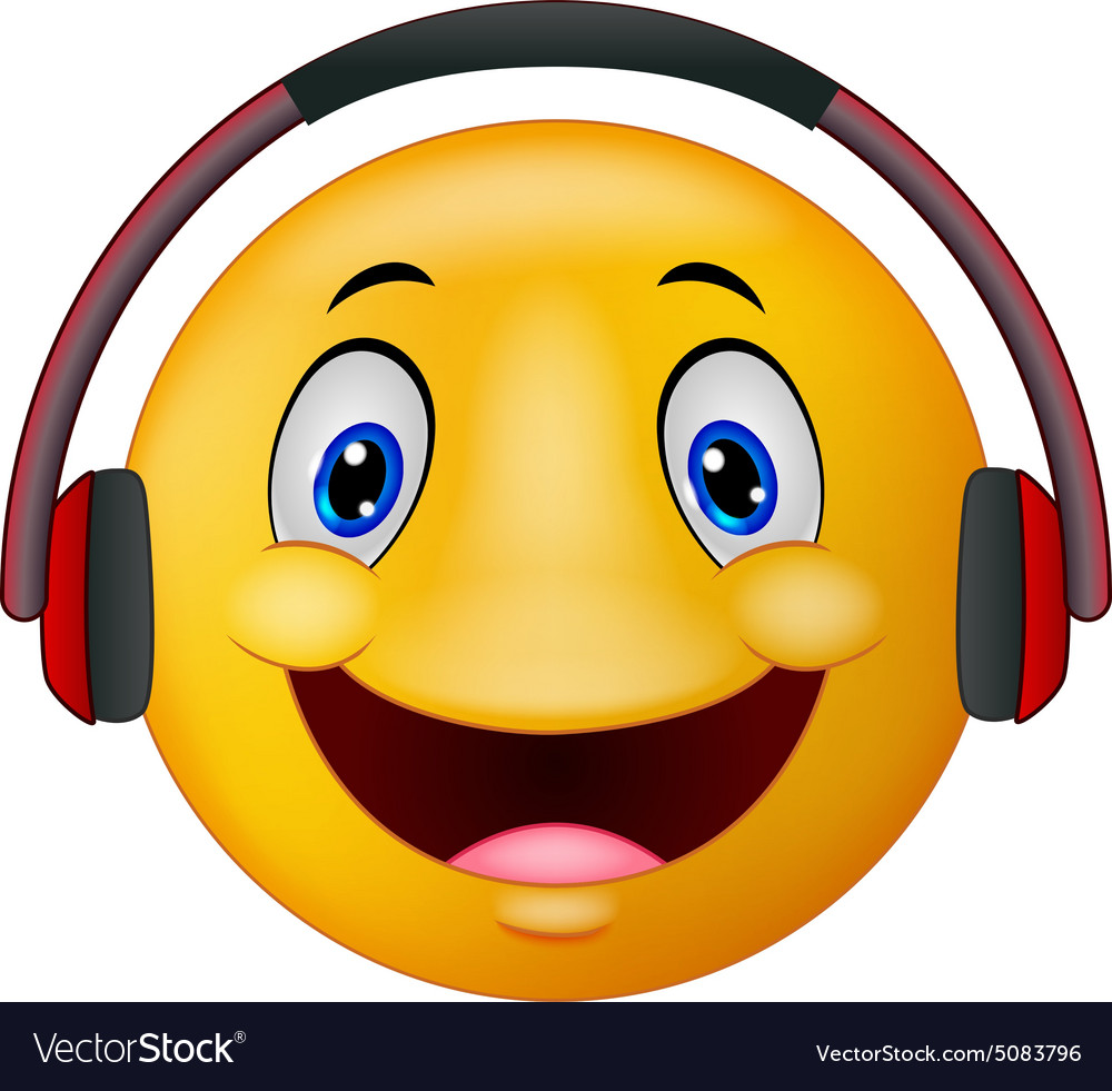 Emoticon with headphones vector